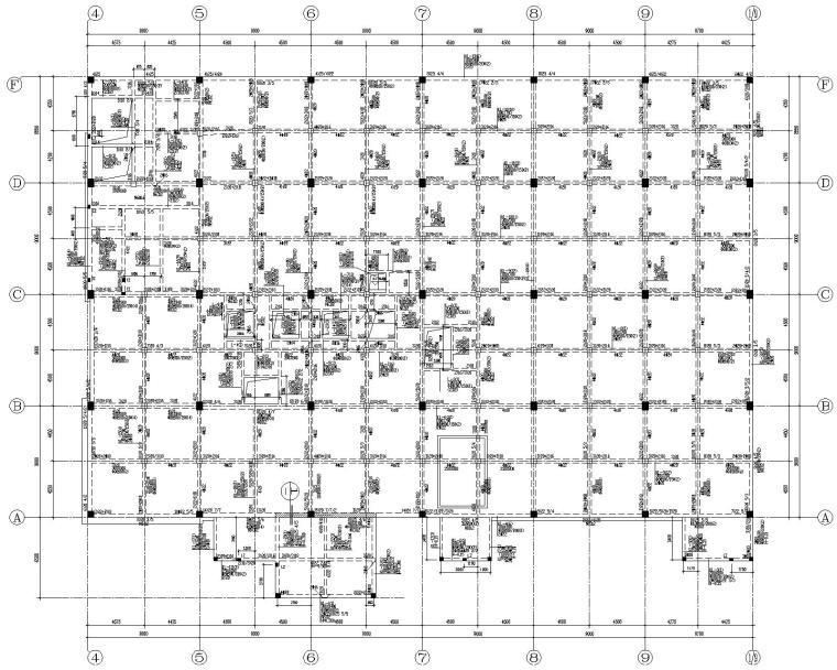 某汽车园混凝土结构销售厅施工图(CAD)