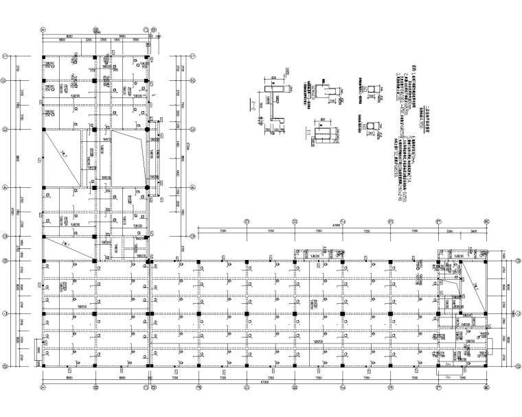 某L型平面办公楼混凝土结构施工图(CAD)