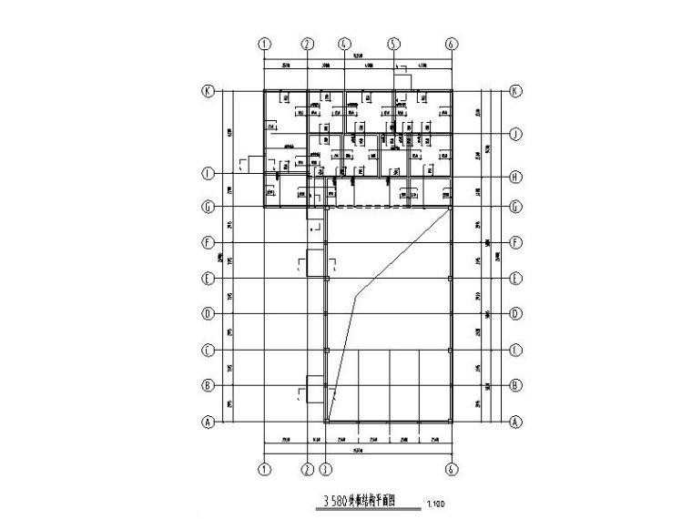 [河南]单层底部砌体钢屋架食堂结构施工图