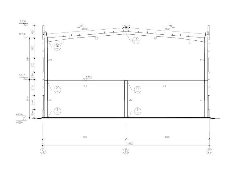 带夹层门式刚架厂房结构施工图2015