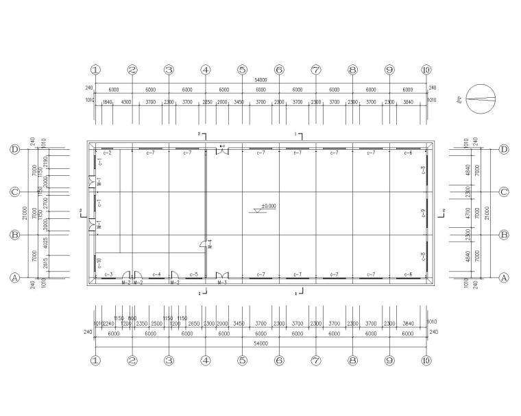 某21米跨钢结构餐厅结构施工图(CAD)