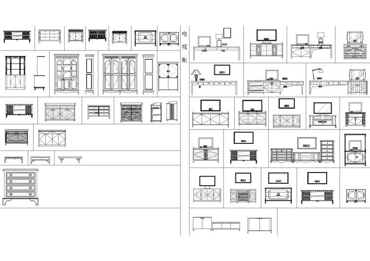 电视柜立面图块