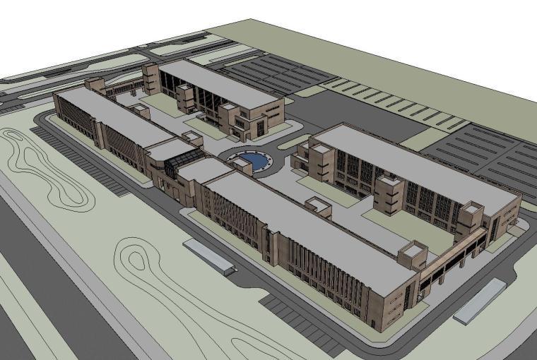 现代风格软件产业建筑模型设计
