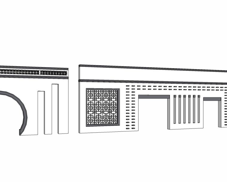 30个新中式景墙SU模型(2)