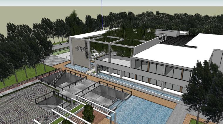 现代创意多层生态餐厅田园规划建筑SU模型