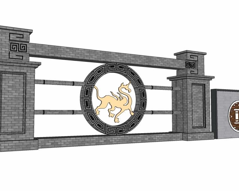 30个新中式景墙SU模型(1)