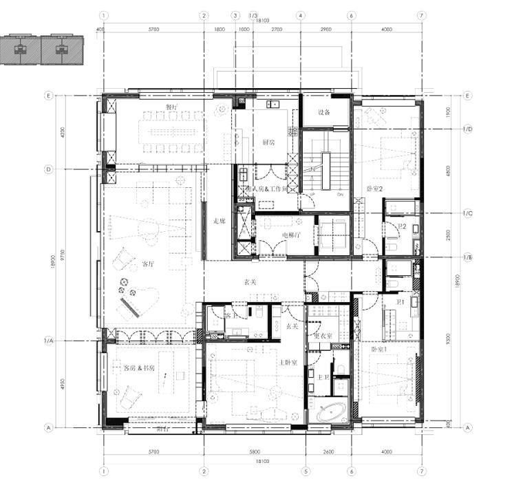 李玮珉设计案例资料下载-[北京]现代风格三居室样板间室内装修施工图
