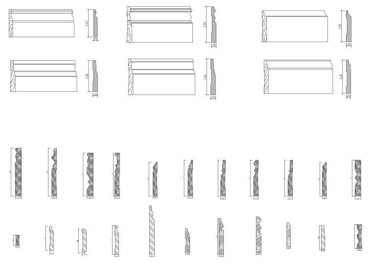 脚线天花角线,拼花柱式,装饰等CAD图块