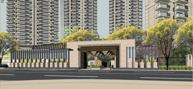 中粮·大悦城高层住宅+入口SU模型设计