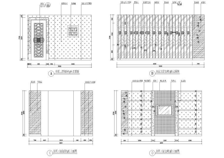 B区三层包间立面图