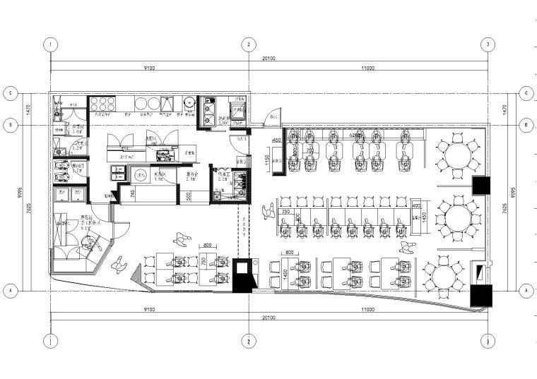 [苏州]一城半点餐饮空间室内施工图+效果图