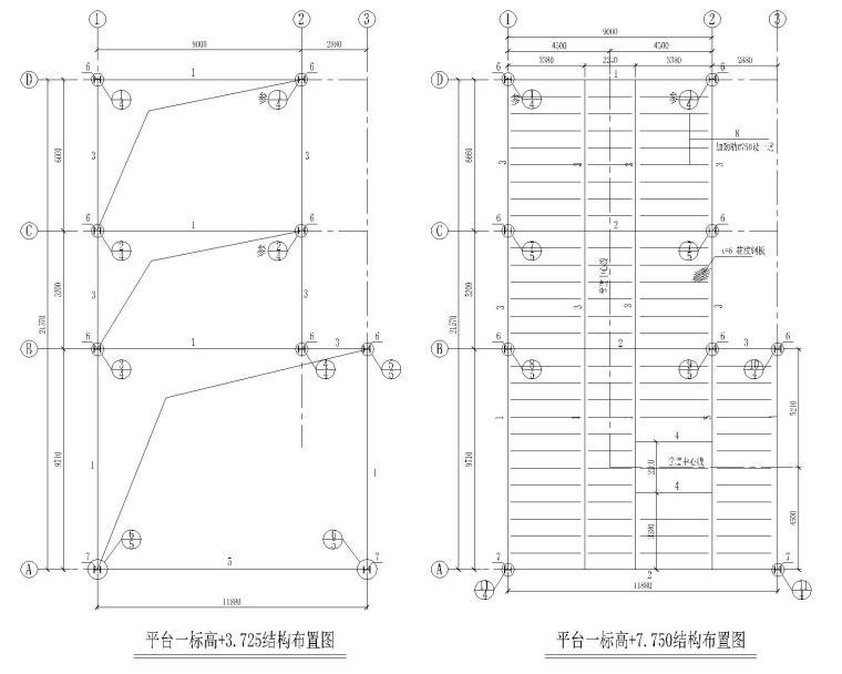 某钢结构平台含详细节点施工图(CAD)