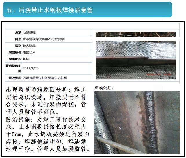 后浇带止水钢板焊接质量差