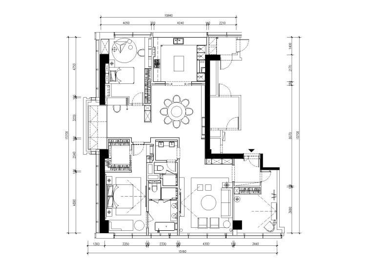 [浙江]-现代轻奢住宅样板间施工图+效果图