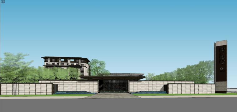新中式示范区建筑模型设计