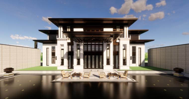 新中式风格示范区建筑模型设计