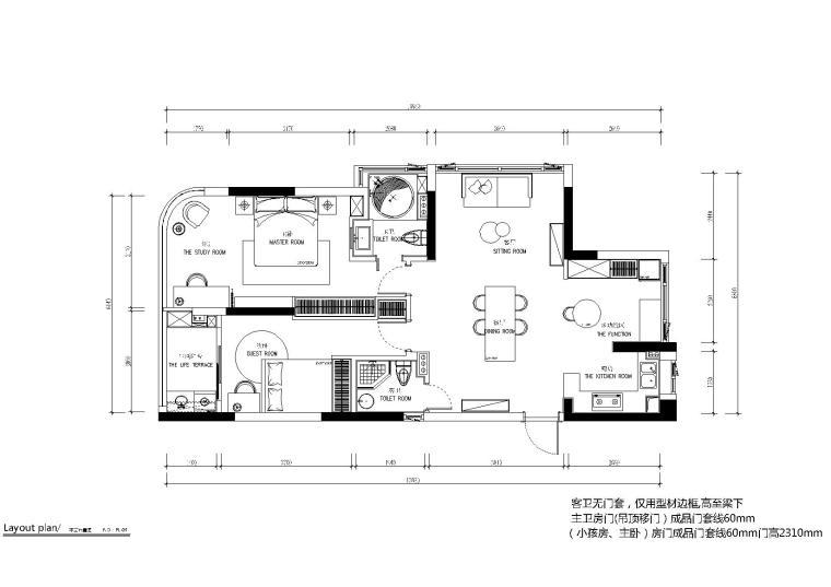 现代轻奢风格样板间室内装修施工图+效果图