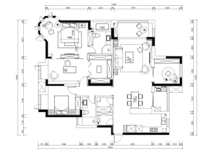 [武汉]-美式轻奢橡树湾私人住宅施工图+实景