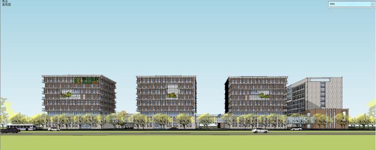 現代風格辦公樓產業園建筑模型設計