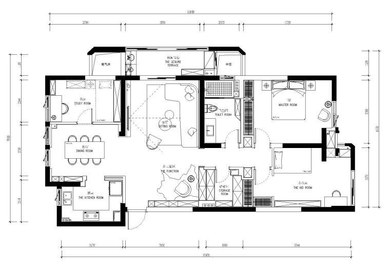 婺江三园灰白色调二居室样板间施工图+实景