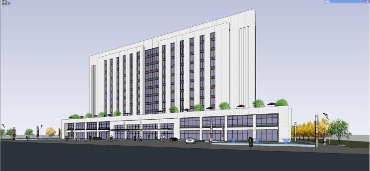 现代风格产业基地办公楼建筑模型设计