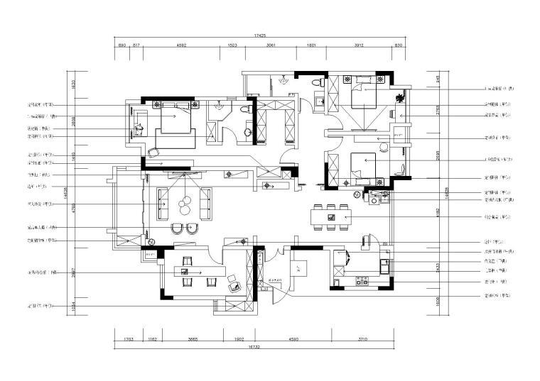 依山郡法式风格三居室样板间施工图+效果图