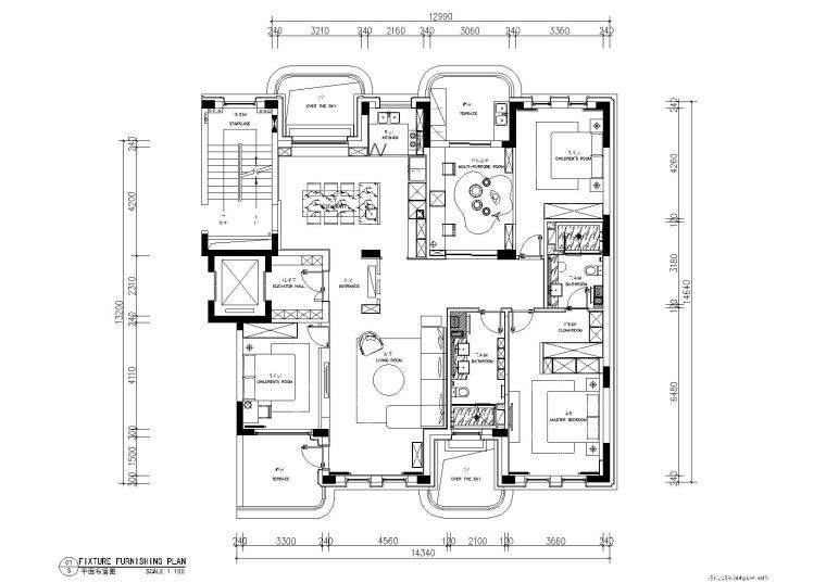 极简对白三居室住宅室内施工图+实景+3D模型