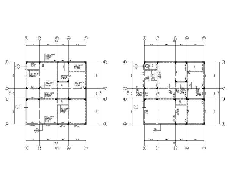 四层欧式别墅混凝土结构施工图(CAD)