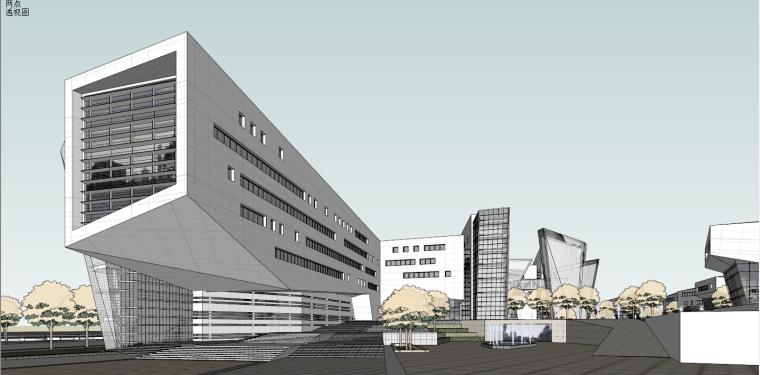 产业园-办公-上海浦东软件园建筑模型
