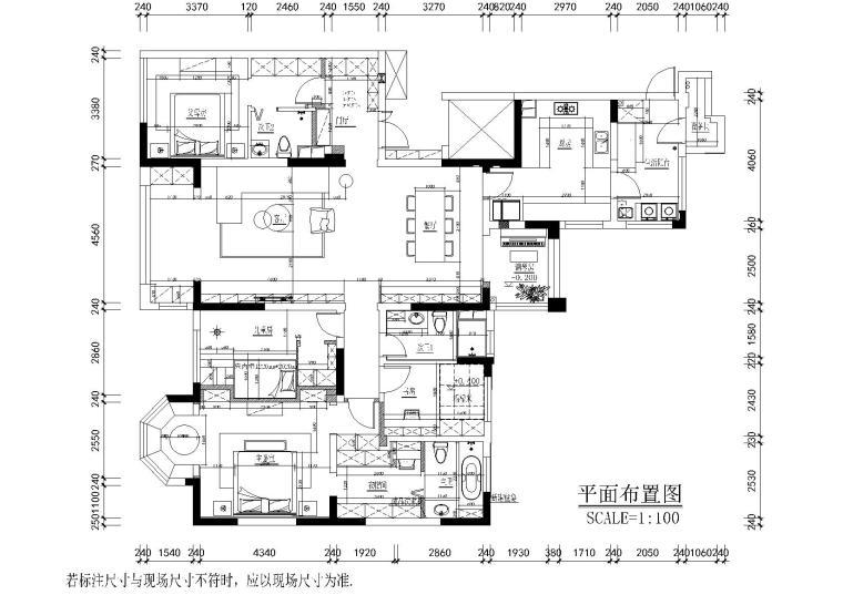 现代简约而阳光三居室住宅设计施工图+实景