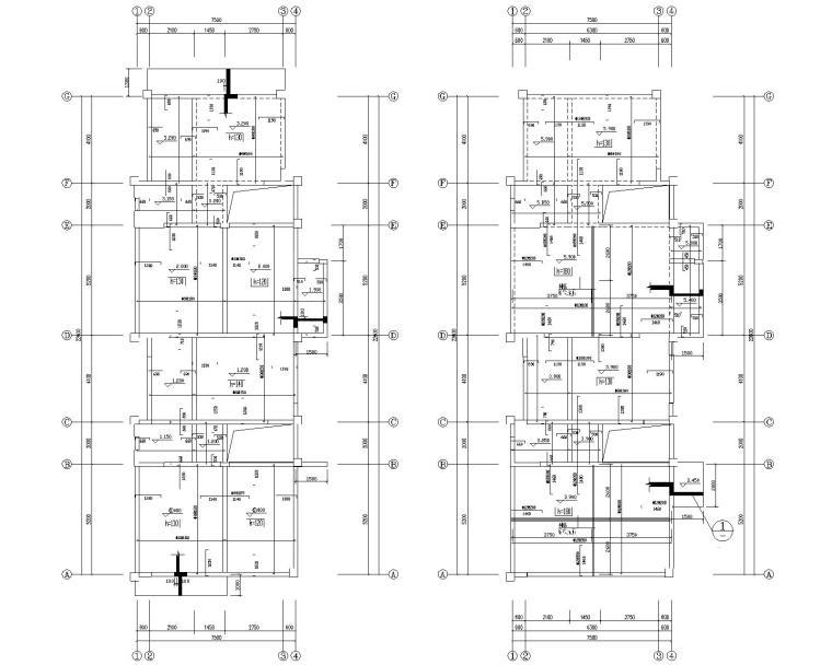 某三层直拼别墅混凝土结构施工图(CAD)