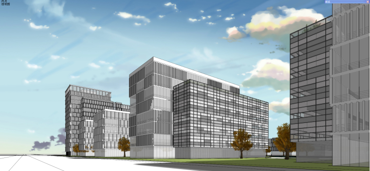 现代风格产业园办公建筑模型设计