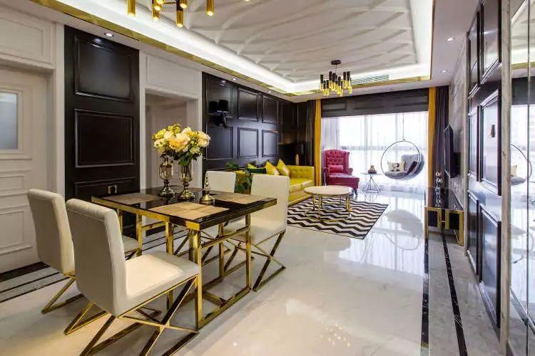 106平现代轻奢风二居室,时尚客餐厅超酷_2