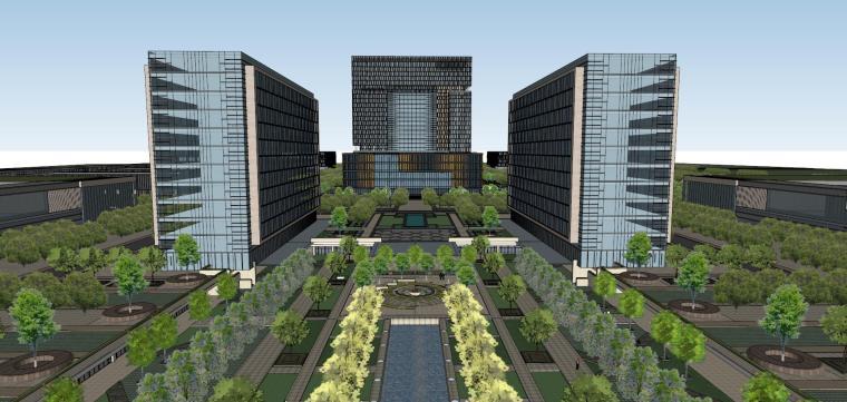 产业园规划-科技办公区建筑模型设计
