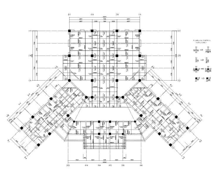 五层办公楼不规则平面结构施工图(CAD)