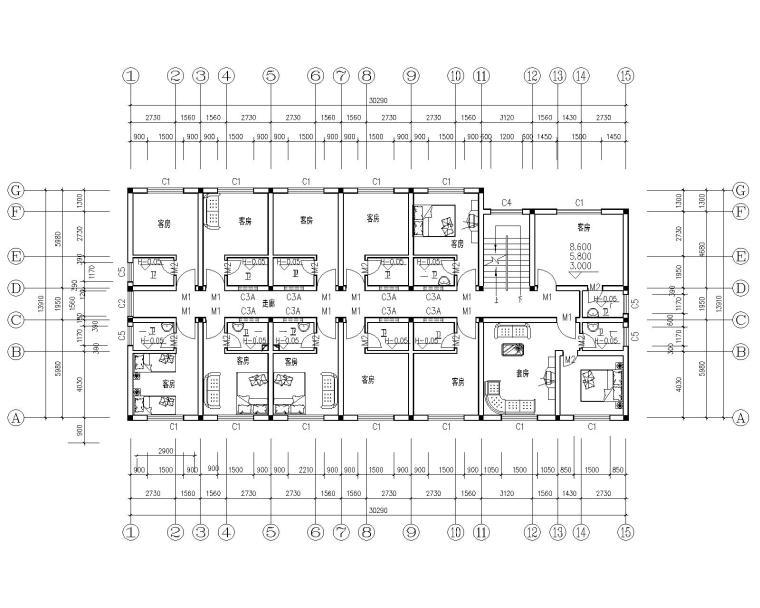 四层砖混结构宿舍公寓楼施工图(cad)图片