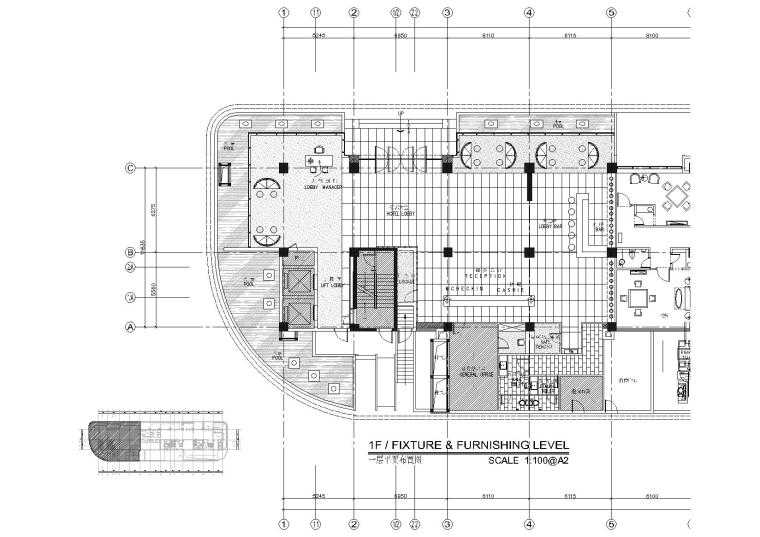 [福州]温泉公园酒店大堂客房施工图+效果图
