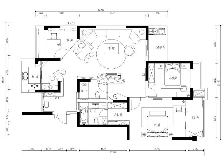 苏州130平两居室公寓装修施工图+效果图