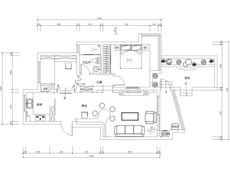 常熟110平两居室住宅装修施工图+效果图