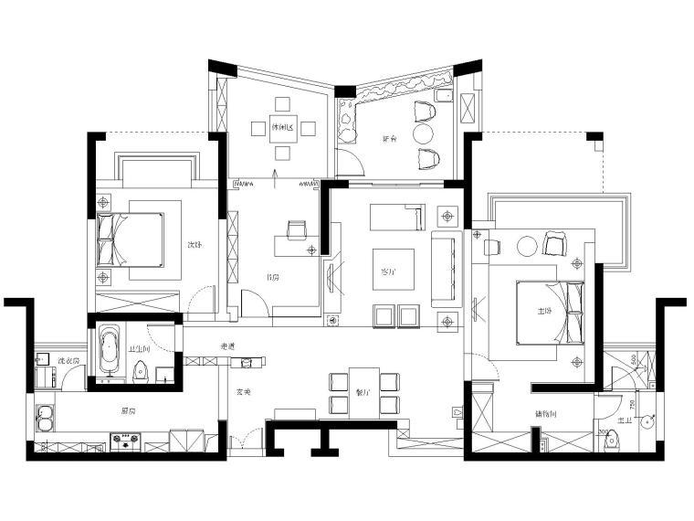 苏州140㎡现代风格三居室住宅装修施工图
