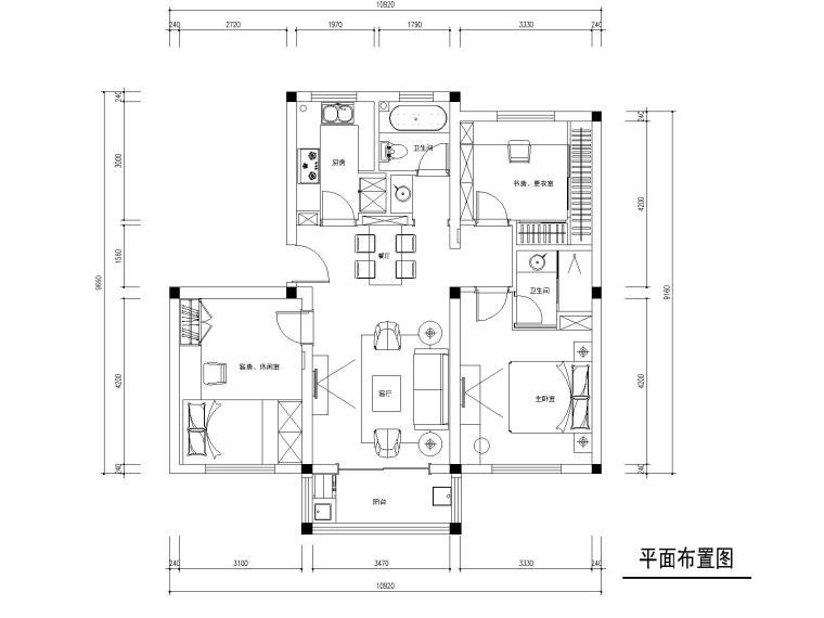 常熟90平现代风格三居室住宅装修施工图