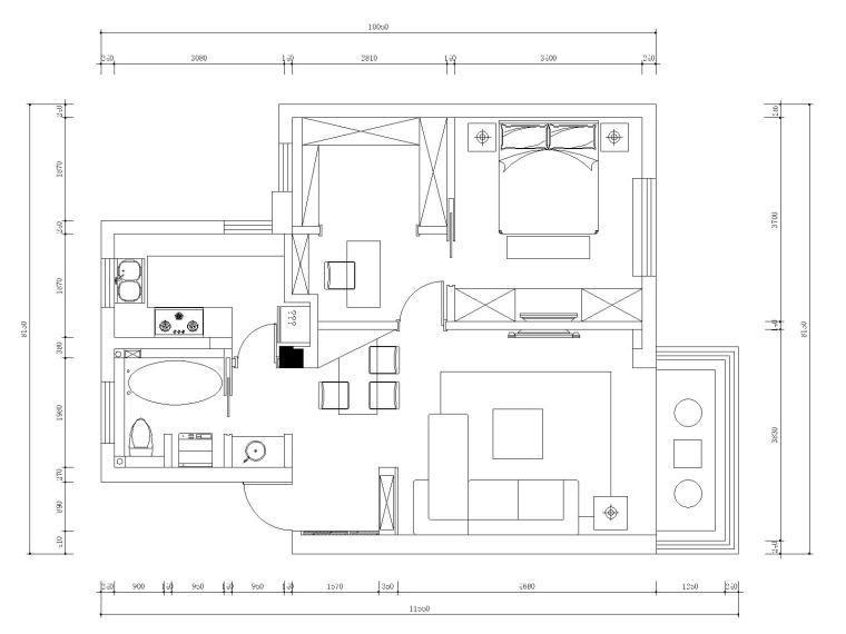 苏州65平现代简约风格住宅装修全套施工图
