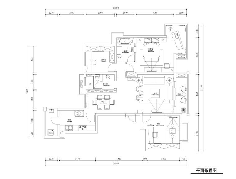 常熟130平三居室住宅装修施工图+效果图