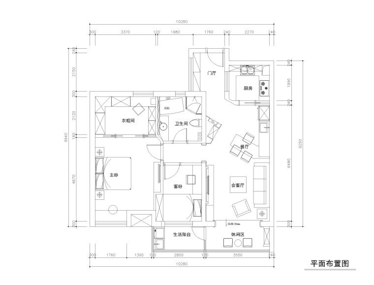 常熟98平三居室公寓装修施工图+效果图