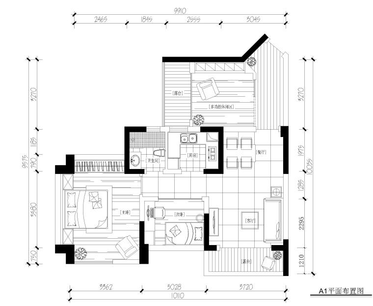 现代风格两居室样板间装修施工图+效果图