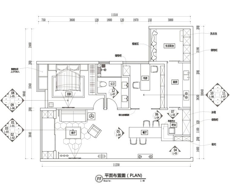 现代奢华风格一居室私人住宅装修施工图