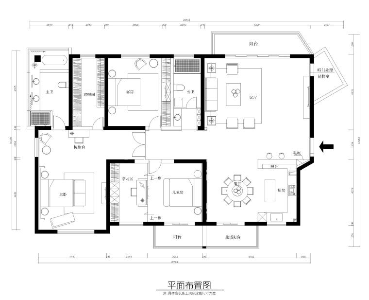 三居室住宅室内装修全套施工图+效果图