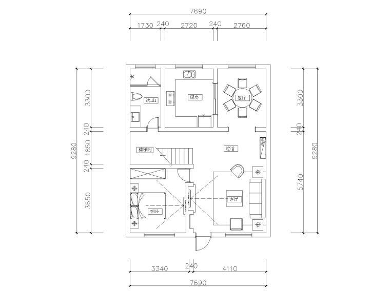 山西200平四居室自建房装修施工图+效果图