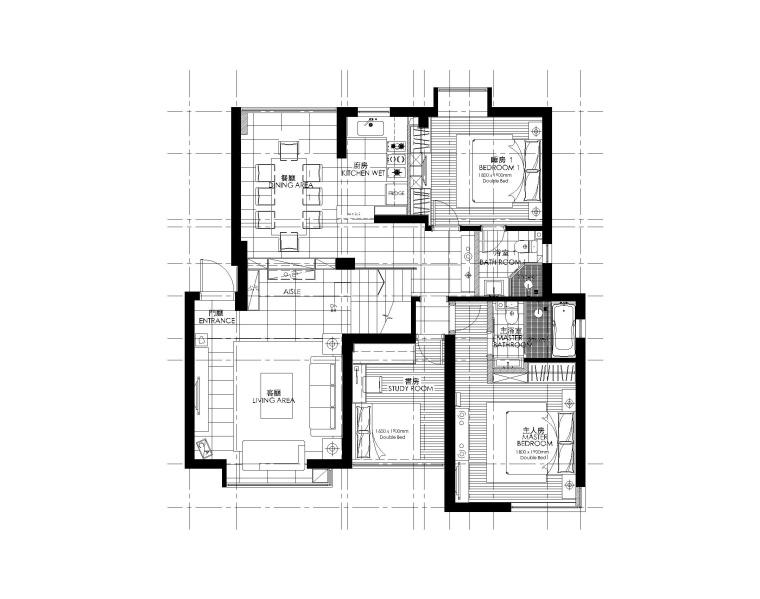 簡約風格三居室住宅室內裝修施工圖+效果圖