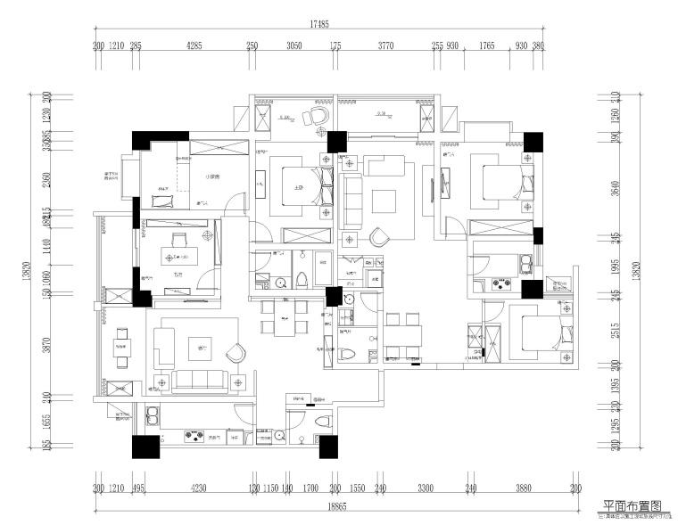 兰州现代风格三居室住宅施工图+效果图